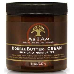 Crème hydratante Doublebutter Cream  cheveux boulclés rêches et secs AS I AM