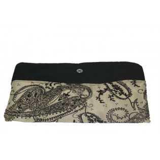 Trousse de rangement  en tissu avec Strass Beige et noir
