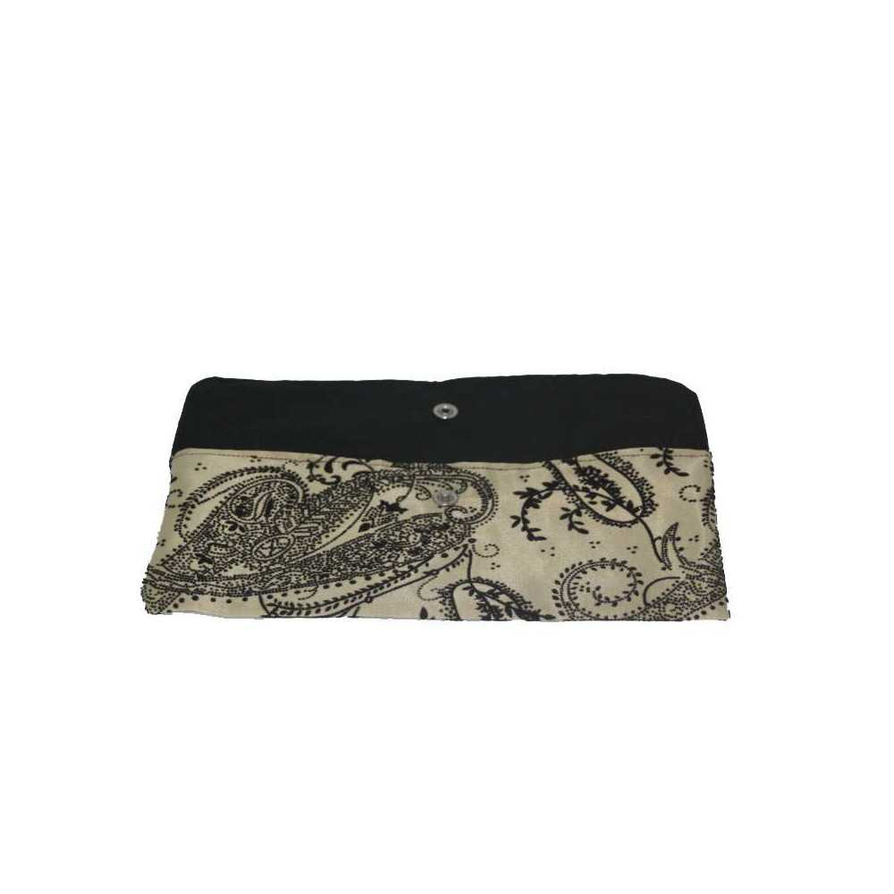 Trousse de rangement ou pochette de rangement en tissu avec Strass Beige et noir