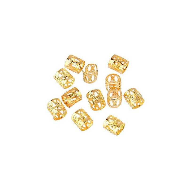 Bagues métal Dorées pour Tresses et dreadlocks 50 pièces