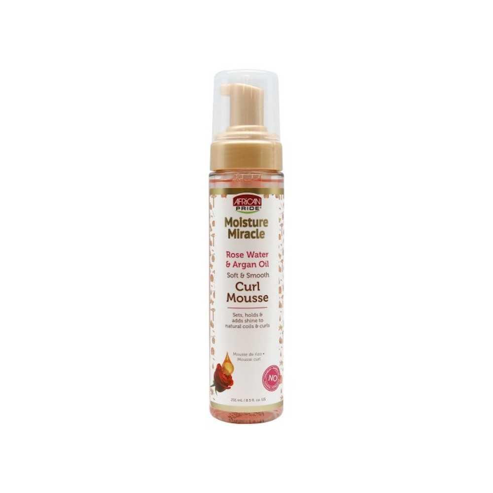 Mousse coiffante à l'eau de rose et huile d'argan Moisture Miracle African Pride 251ml