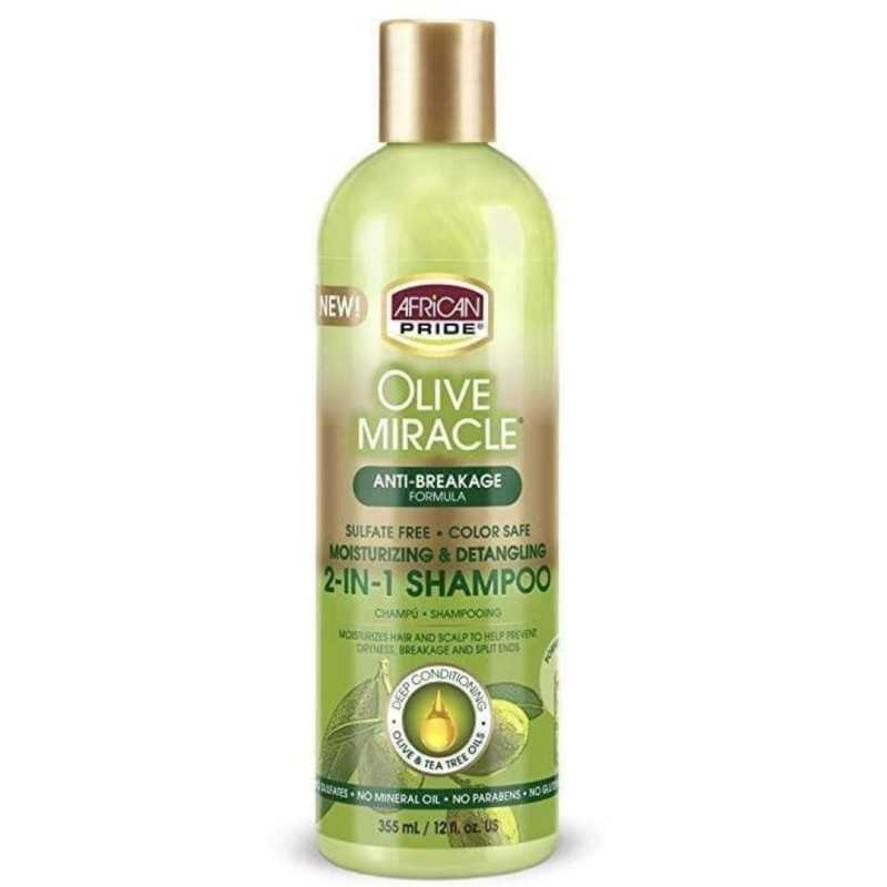 Shampoing et après-shampoing 2 en 1 anti-casse olive miracle African Pride 355ml
