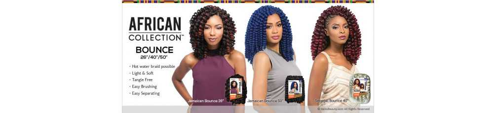 MÈCHES AFRICAN COLLECTION JAMAICAN BOUNCE CROCHET BRAID SENSATIONNEL 26-50-40 Pouces